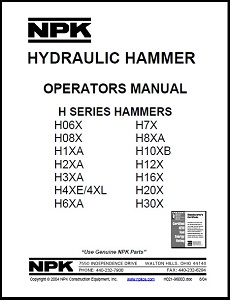 H Series Hydraulic Hammer Operators Manual