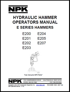 Small E Series Hydraulic Hammer Operators Manual