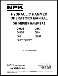 Small GH Series Hydraulic Hammer Operators Manual