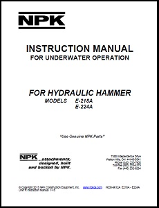 Underwater Manual for E218A and E224A Hydraulic Hammers