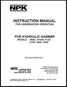 Underwater Manual for Large H Series Hydraulic Hammers