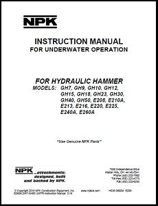 Underwater Manual for Large GH & E Series Hydraulic Hammers