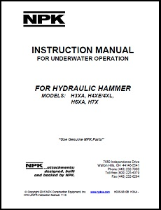 Underwater Manual for Small H Series Hydraulic Hammers