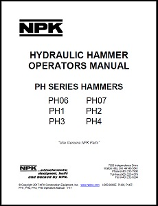 PH Series Hydraulic Hammer Operators Manual