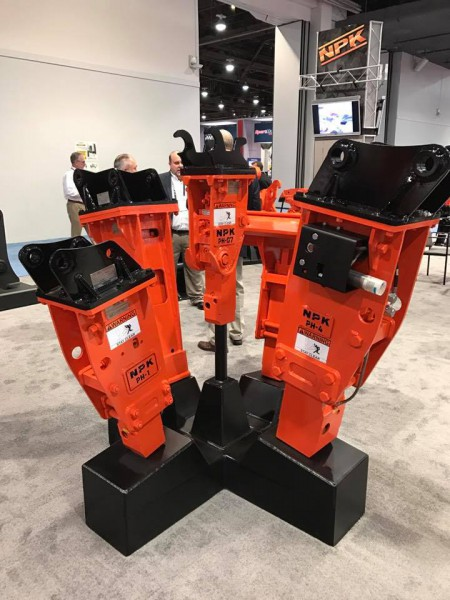 ConExpo 2017 – NPK PH hydraulic hammers; various top brackets; Hammer Mounted Autolube for PH3/PH4.