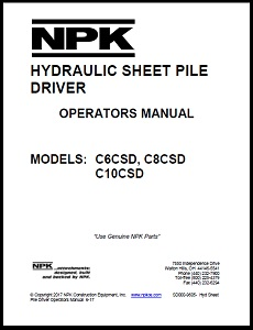Sheet Pile Driver Operators Manual