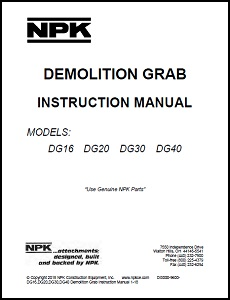 Demolition & Sorting Grab Instruction Manual