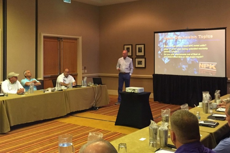 Jay Noel speaking at 2016 NPK dealer conference in 2016